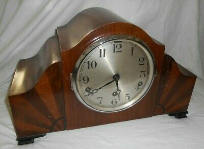 1930s WORKING Dual Chime Art Deco Mantle Clock DUAL CHIME with KEY Silent Switch