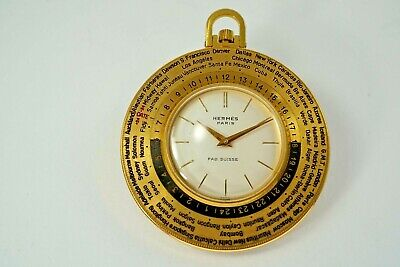 Hermes Paris World Time Pocket Watch Luxor Nice Condition Gold Plated C. 1960'S