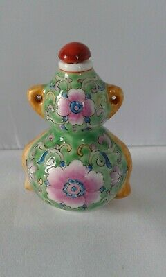 Chinese Famille Rose Porcelain Snuff Bottle Lotus Flowers Signed
