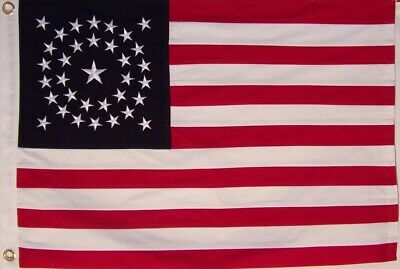2' X 3' HEAVY COTTON 34 STAR AMERICAN FLAG  embroidered & sewn - HISTORICAL USA