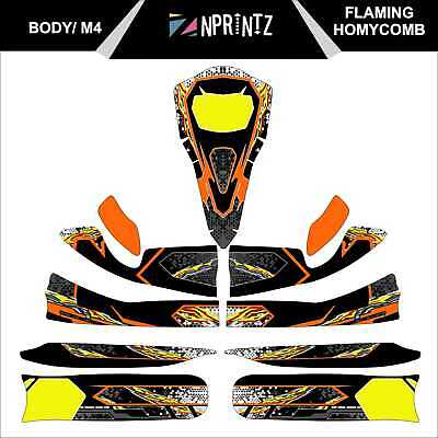 M4 Flaming Honeycomb Full Kart Sticker Kit - Karting - Otk - Evk-Cadet-Rookie