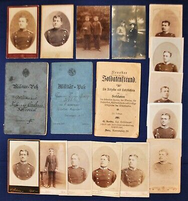 Pre / Early WWI Era German CDVs, Diary & Soldier's Passports Grouping