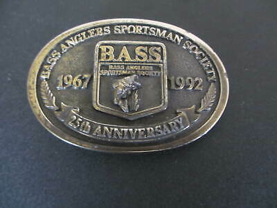 B.A.S.S. Bass Anglers Sportsmans Society 25th Anniversary Belt Buckle 1967-1992