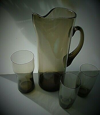 Vintage Whitefriars glass iced water jug and 3 glasses