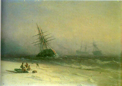 """Oil painting Ivan Constantinovich Aivazovsky - The Shipwreck on Northern sea 36"""""""
