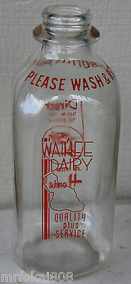 Waihee Dairy Hawaii One Quart  Acl Milk Bottle Hawaiian Soda