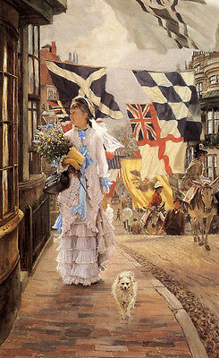 Oil painting James Jacques Joseph Tissot - A Fete Day at Brighton Lady & dog 36""
