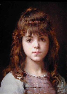 Oil painting Alexei Harlamoff - Mignon - Beautiful young girl on canvas
