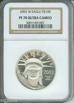 2003-W $100 PLATINUM EAGLE STATUE OF LIBERTY 1 Oz. NGC PF70 PROOF PR70 CAMEO !