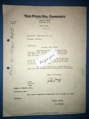 THE PURE OIL COMPANY BIG SANDY & CUMBERLAND RAILROAD Correspondence Letter 1926