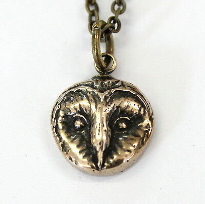 Solid Bronze Barn Owl Head Charm Necklace Pendant Night Bird of Prey Ghost 369