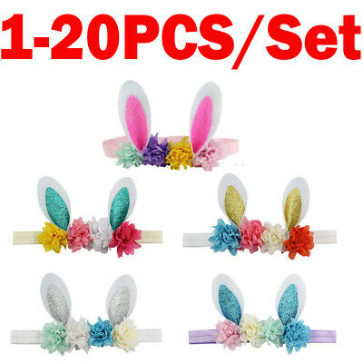20PCS Easter Baby Kid Girl Headband Flower Rabbit Ears Hair Band Accessories Lot