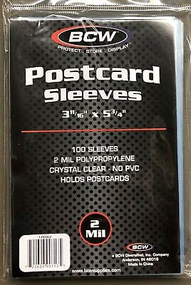 2 PACKS (100 Count Pack) BCW  Postcard Standard Size Sleeves  Archival Acid Free