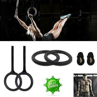 Adjustable Olympic Gymnastic Rings Crossfit Gym Body Muscle Strength Fitness UK
