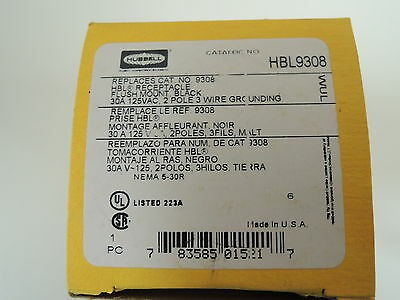 Hubbell 2-Pole 3-Wire Grounding Receptacle, 30A 125V, 5-30R, Black - HBL9308