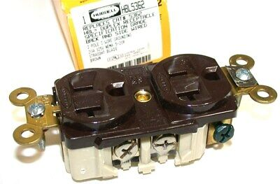 Up To 2 New Hubbell 2-pole 3-wire 20A/125V Receptacles HBL5362