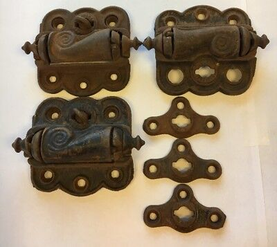 Three Antique Fancy Working Cast Iron Screen Door Hinges c Late 1800s
