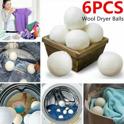 Wool Dryer Balls 6-Pack XL Premium Reusable Natural Fabric Softener Eco Safe New