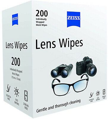 Zeiss Lens Wipes Pack of 200 Gentle wipes Suitable for all glass and plastic