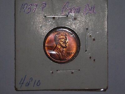 wheat penny 1937 SHARP GEM RED BU 1937-P UNC RED LUSTER LINCOLN CENT  LOT #4