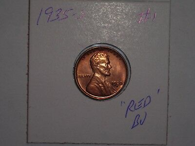 wheat penny 1935S SHARP RED BU 1935-S LOT #1 LINCOLN CENT GREAT UNC RED LUSTER