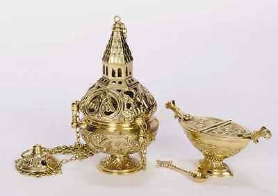 + Nice traditional Censer (Thurible) with Boat & Spoon + Chalice & Vestment Co.
