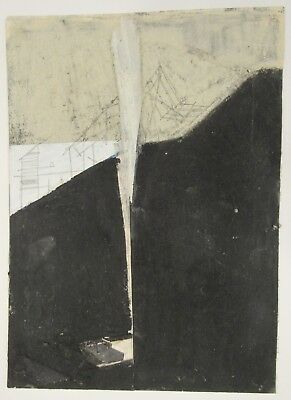 Signed mixed media painting deep black w/architectural drawings