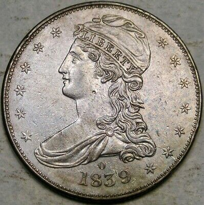 1839 O Capped Bust Reeded Edge Silver Half Dollar Appealing Rare Semi Key Date