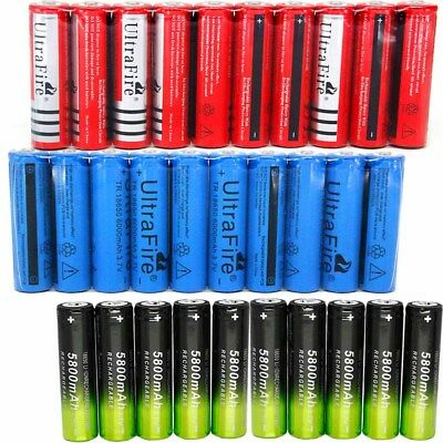 10x 6000mAh 18650 Battery 3.7V Rechargeable Battery Smart Charger For LED Torch