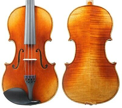 New Strad Violin 4/4 Advanced Violin Flame Maple Back with Free Case and Bow