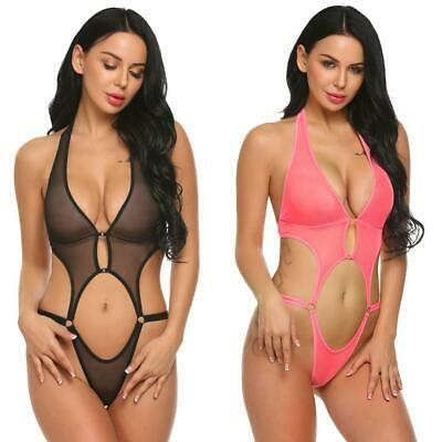 Women Deep V Halter Lingerie Sexy See Through Mesh Babydoll Mini N4U8