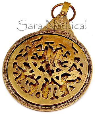 Arabic Calendar Astrolabe Brass Navigation Astrological Globe Antique Vintage18""