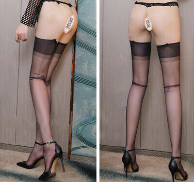 Women 5D Ultrathin High Stockings Thigh-Highs No Elasticity Hosiery Clubwear
