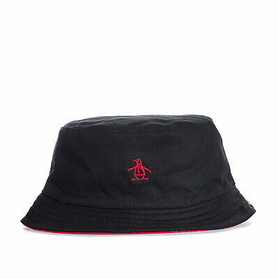 Original Penguin Mens Switch Bucket Hat in Black Red - One Size