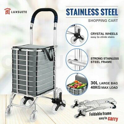 Stainless Steel Shopping Trolley Cart Bag Foldable Market Grocery Luggage Basket