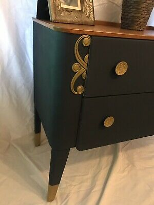 Retro Mid Century Chest Of Drawers Blue Gold Painted Wood Unit Table Side