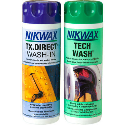 Nikwax Tech Wash & TX Direct 300ml Twin Pack Cleaning Waterproof Outdoor Jacket