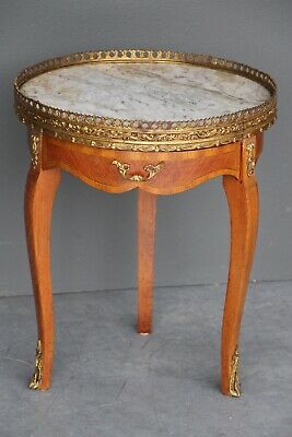 French vintage marquetry marble top wine table bronze ormolu mounts ornate draw
