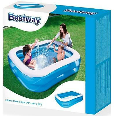 New Bestway Rectangular Family Swimming Paddling Pool Outside Waterfamily 2.01M