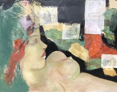 Beatrice Werlie (1974) French Abstract Oil Angular Cubist Portrait Nude Lady