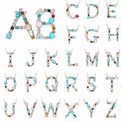 26 Initial Letter A-Z Large Alphabet Pendant Colorful Crystal Necklace Jewellery