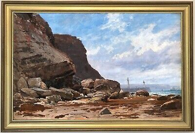A Scene on the Coast Antique Marine Oil Painting 19th Century British School