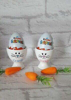 Lovely Personalised Name Bunny Porcelain X1 Egg Cup X1 Kinder Egg