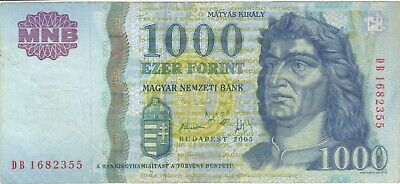 2005 1000 Forint Hungary Currency Banknote Note Money Bank Bill Cash Budapest