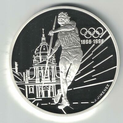 France 1994 100 Frances Olympic 1 Oz Sterling Silver Proof Coin Javelin Thrower