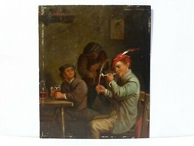 Antique Oil on Tin Painting Men Smoking Pipes & Drinking Signed Teniers