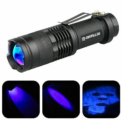 365nm LED High Powered UV Lamp Black Light Ultra Violet Flashlight Super Bright