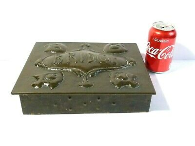 Antique Arts & Crafts Copper Repousse Bridge Cards Playing Box 20 x 24cm