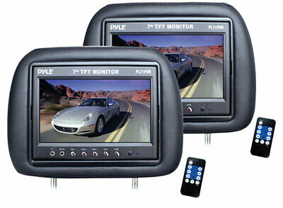 Pyle PL71PHB Adjustable Headrest Pair with Built-in 7'' TFT-LCD Monitors (Black)