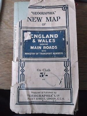 Old Geographia Map Of England & Wales Linenback